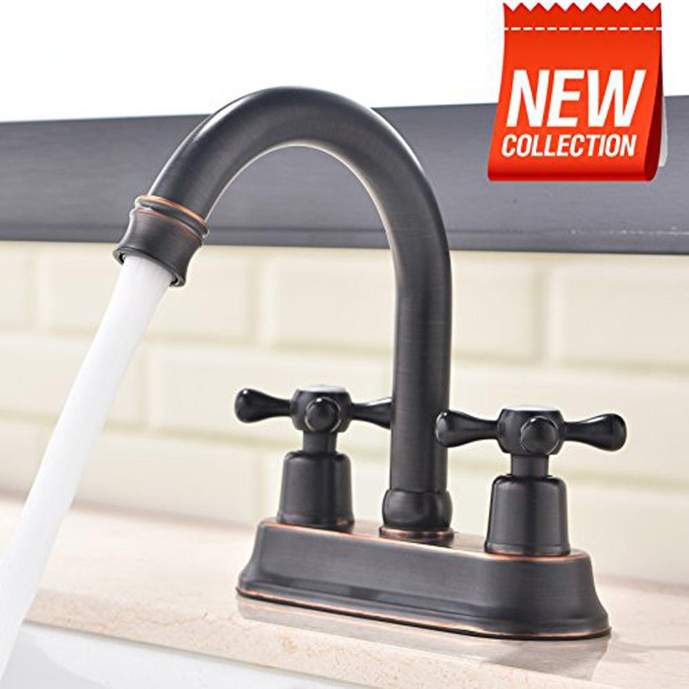 VAPSINT High Standard Stainless Steel Centerset Lavatory Vanity Basin Oil Rubbed Bronze Bathroom Faucet, Double Handle Mixer Hot & Cold by VAPSINT