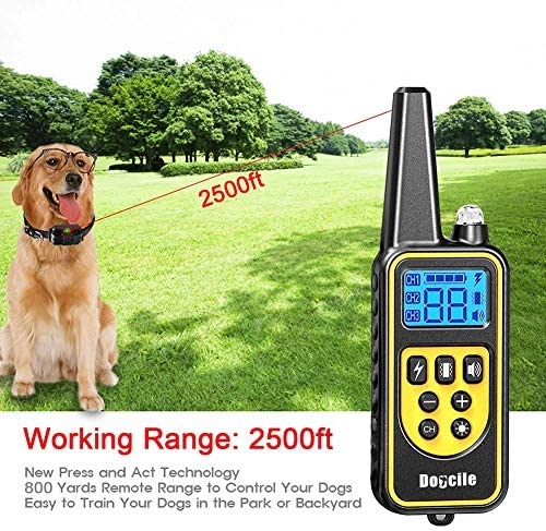 YISENCE Dog Training Collar, Dog Shock Collar with Remote 2500FT Shock Collar for Dogs IPX7 Waterproof Rechargeable w Beep 99 Levels Vibrate Shock Modes Shock Collar for Small Dogs Medium Large Dogs