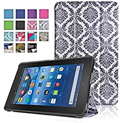TNP New Fire 7 Case (Damask Black) - Ultra Slim Lightweight Folding Folio Cover Stand with Hard Rubberized Back for Amazon New Fire 7 Inch (5th Generation) 2015 Release Tablet