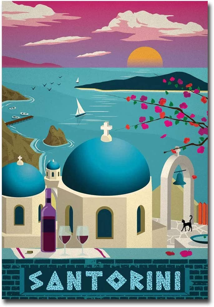 "Santorini Travel Vintage Art Refrigerator Magnet Size 2.5"" x 3.5"""