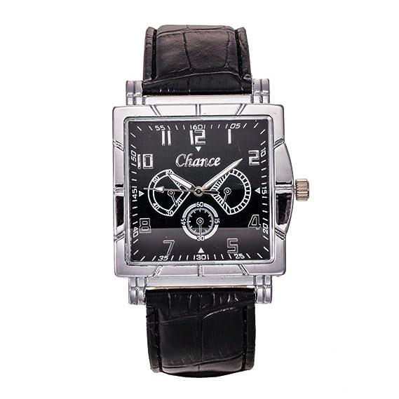 Venta Cinturón Relojes Escala de cabeza cuadrada de negocios hombres reloj de pulsera Negro Harina Blackfaced