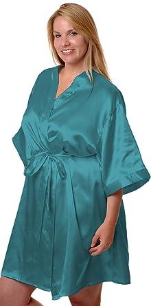 6e510b5ef72 Women s Super Plus Size Silky Classic Short Kimono Robe  3028axx (XX ...