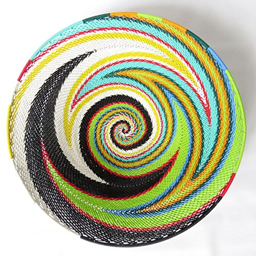 African Zulu woven telephone wire bowl – Large shallow bowl - Multicolour - Gift from Africa