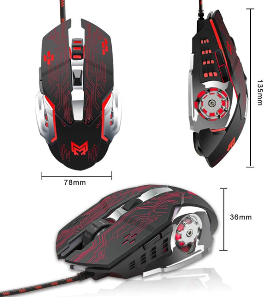 Wired Gaming Mouse Lee Lam Ergonomic Gaming Mouse Cable Esport Mouse USB Desktop Computer Mute Mouse Compatible with Windows MAC OS and Lw Operating System,ClassicBlack