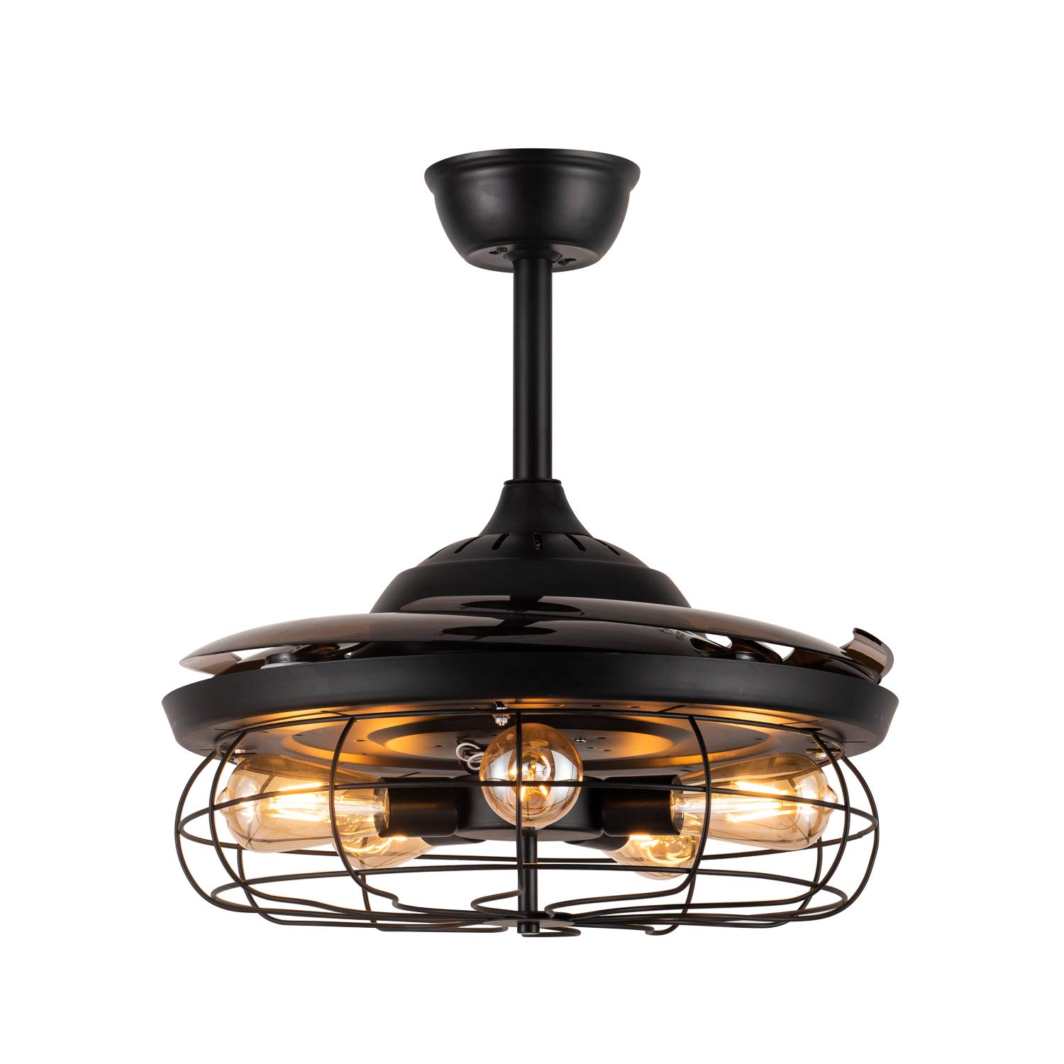 Moooni 48 Industrial Retro Ceiling Fans With Lights And Remote Retractable Vintage Caged Invisible Chandelier Fan Light Kit For Bedroom Kitchen Office Farmhouse Dining Room Black Lamps Light Fixtures Tools
