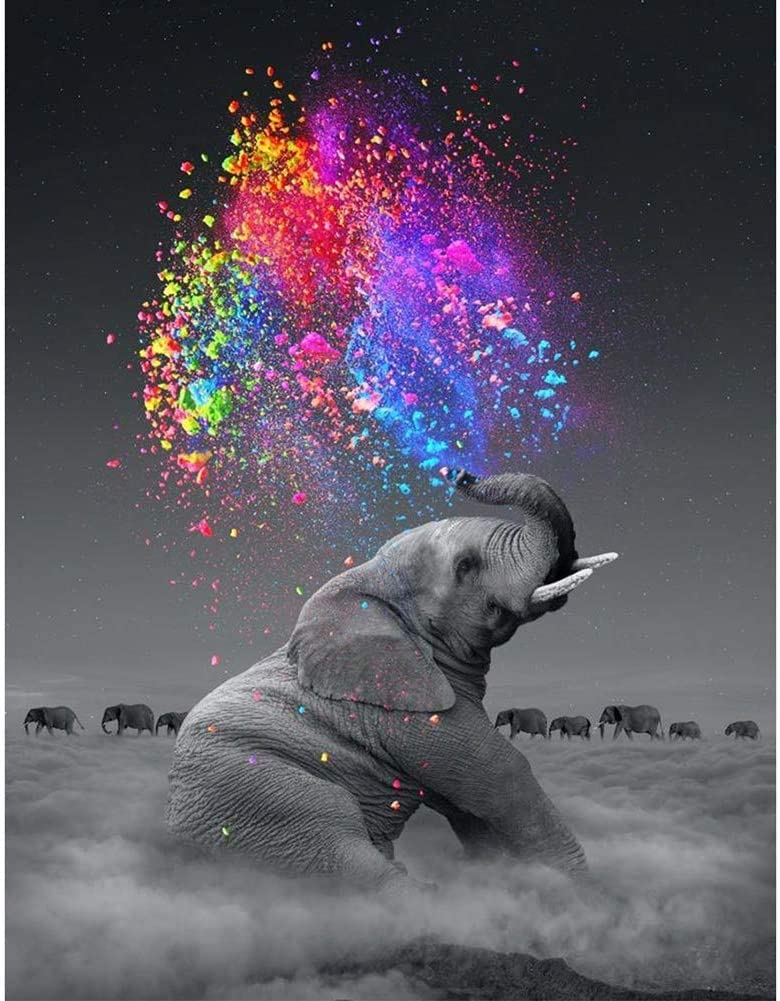 Crystal Rhinestone Diamond Embroidery Paintings Pictures Arts Craft for Home Decoration DIY 5D Diamond Painting Colorful Star Gray Elephant 30x40 cm