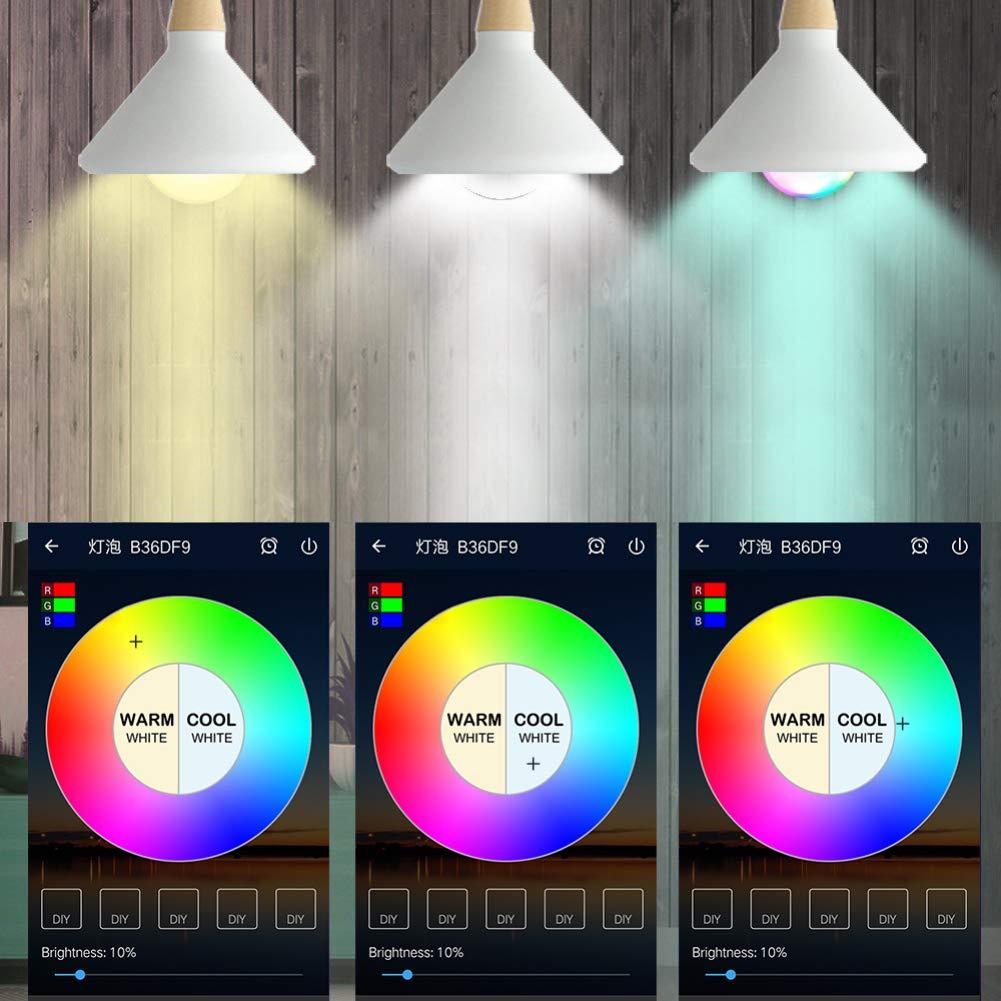 Bombilla Inteligente WIFI Led E26,Ajustable y l/ámpara multicolor Funciona con Alexa,Echo//Echo Dot,Google Asistente 12W Bombilla,No Hub Require