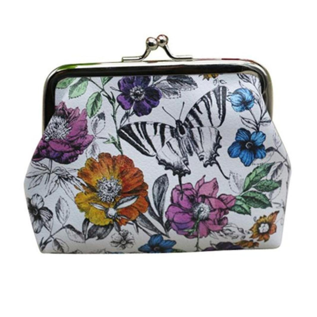 Fashion Womens Girls Leather Small Wallet Butterfly Flower Print Coin Purse Wallet Bag Change Pouch (1210cm, White)