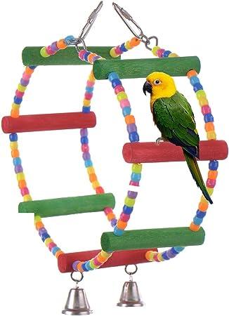 Juguetes para pájaros Accesorios de jaula Escalera de madera Swing para Macaw de loro Grises africanos Parakeet Cockatiel Conure Budgies Birdcage perchas de juguete con campanas: Amazon.es: Hogar