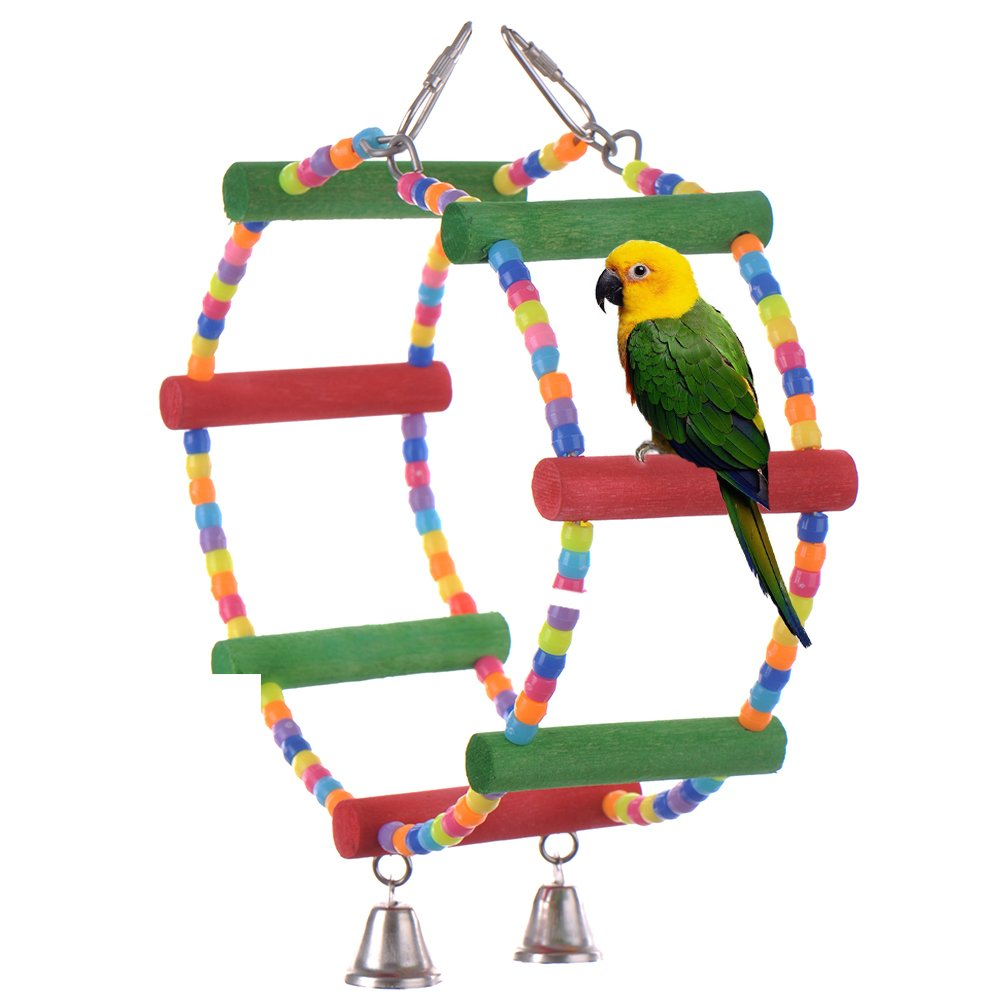 Sundlight Wooden Pet Parrot Swing Cage Stand Toy, Hanging Bird Play Toys for Cockatiel African Grey Conure Rat Mouse Hamster Parrot (Double Ring Design)