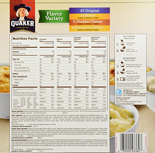 Amazon.com: Quaker Instant Grits Flavor Variety 50 Pack Variety Value Box: Breakfast Grits