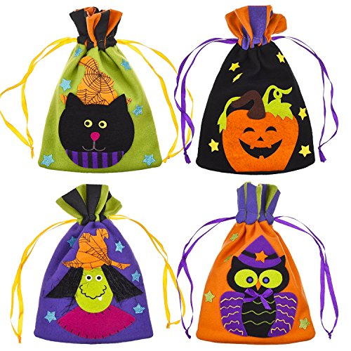 Frienda 4 Pieces Halloween Drawstring Bags Trick or Treat Goody Bags for Kids Large Assorted Gift Sacks for Halloween Presents - Cute Halloween Goody Bags