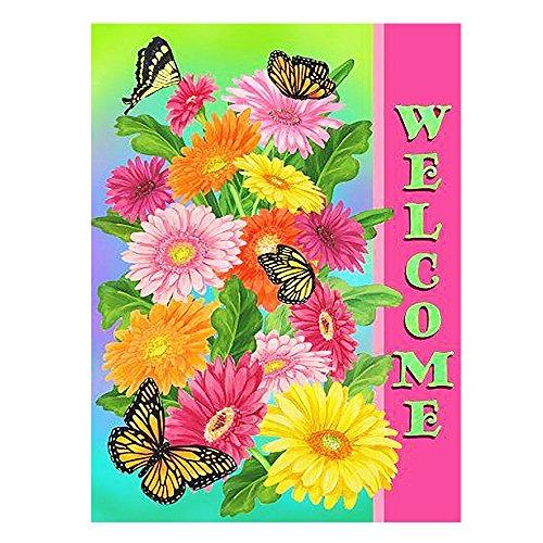 - ALAZA Welcome Sunflower Daisy Flowers Butterfly House Flag Garden Banner 28