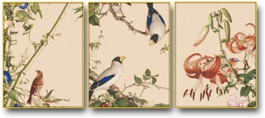 WLEZY Pintura de Lienzo 3 Piezas Flores pájaros clásicos Cuadros de Pared póster impresión Lienzo Pintura para Sala de Estar Dormitorio decoración del hogar