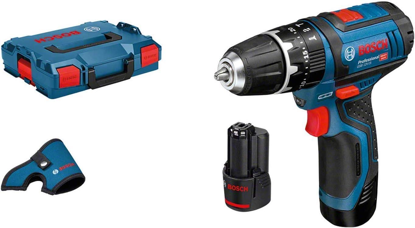 Bosch Professional GSB 12V-15 - Taladro percutor a batería (2 baterías x 2.0 Ah, 12V, en L-BOXX)
