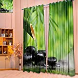 SeptSonne Design Print Grommet top Thermal Insulated spa still life with bamboo fountain and zen stone Linen Room Darkening Curtains(W52 x L84 Pair)