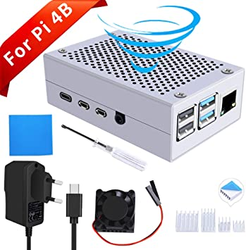 GeeekPi Raspberry Pi 4 Caja de Aluminio, Raspberry Pi 4 Caja de ...
