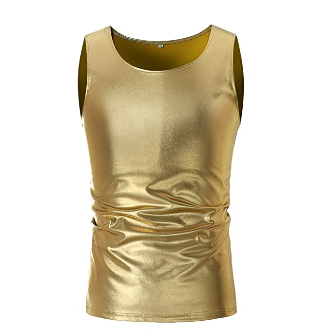 Amazon.com  MILIMIEYIK Blouse Men s Casual Solid O Neck Sleeveless T-Shirt  Top Vest Blouse Gold Tank Slimsleeve Crew Shirts Tops  Clothing
