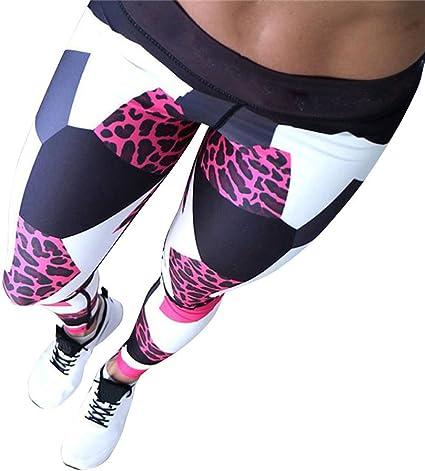 SHOBDW Mujeres Deportes Yoga Estampado de Leopardo Colorido ...
