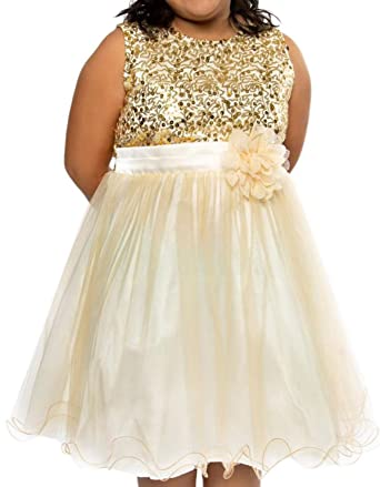 c5dc46e80e5 Little Girls Sequin Junior Bridesmaid Wedding Pageant Flower Girl Dress  Gold Size 4 (K305D)