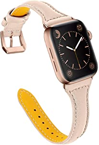 OULUCCI Compatible with Apple Watch Band 38mm 40mm, Top Grain Leather Band Replacement Strap for iWatch Series 6, SE, Series 5, Series 4,Series 3,Series 2,Series 1,Sport, Edition
