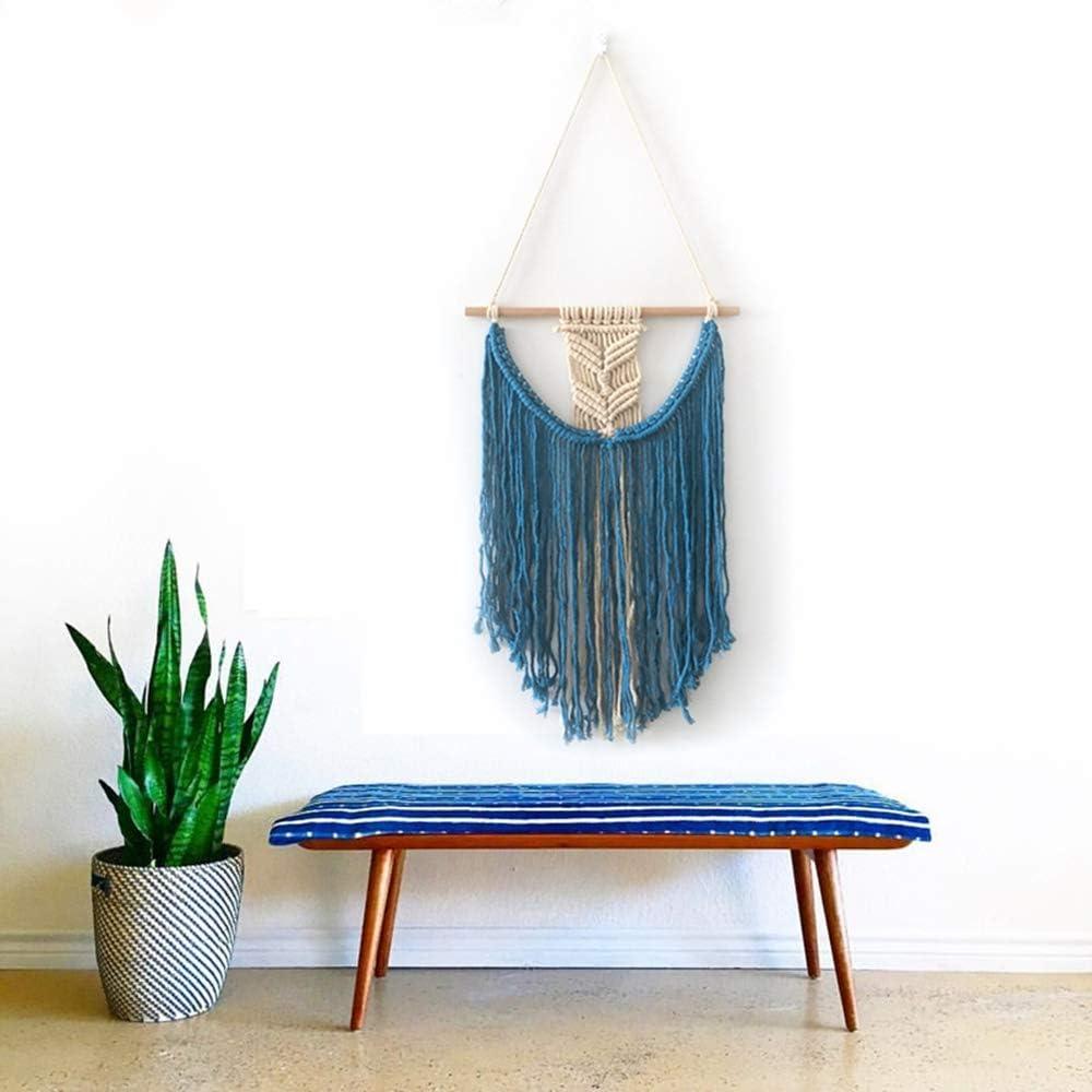 Boho Handmade Macrame Wall Hanging Living Room Bedroom Tapestry -100% Organic Cotton--Free Spirit Home Decor-Geometric Art Tapestry (Blue)