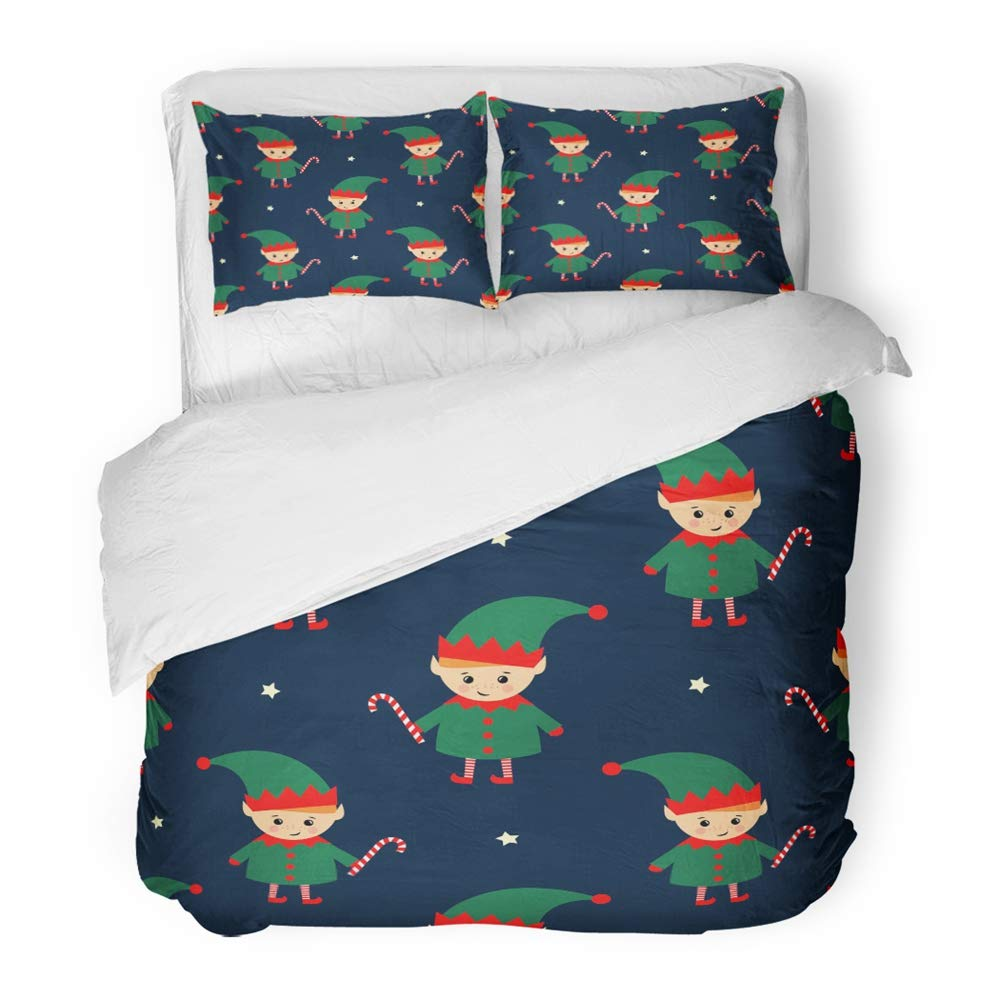 Emvency 3 Piece Duvet Cover Set Brushed Microfiber Fabric Breathable Christmas Elf with Candy Cane on Dark Blue Cute Winter Holidays Baby Design Bedding Set with 2 Pillow Covers Full/Queen Size