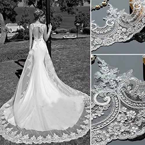 (Bridal Appliqus Bling Paillette Lace Fabric Sequins Embroidery Wedding Dress Lace (White-1 Yard))