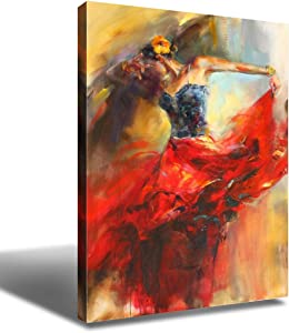 Flamenco Dancer Wall Art Decor Painting Figure Art Spanish Dancing Girl Canvas Prints Poster Decorative Painting Red Dress Sexy Lady Modern Artwork Picture for Living Room Home Decoration 20x30 Inch
