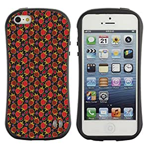 DesignCase Premium TPU / ABS Hybrid Back Case Cover Apple iPhone 5 / 5S ( red strawberry )