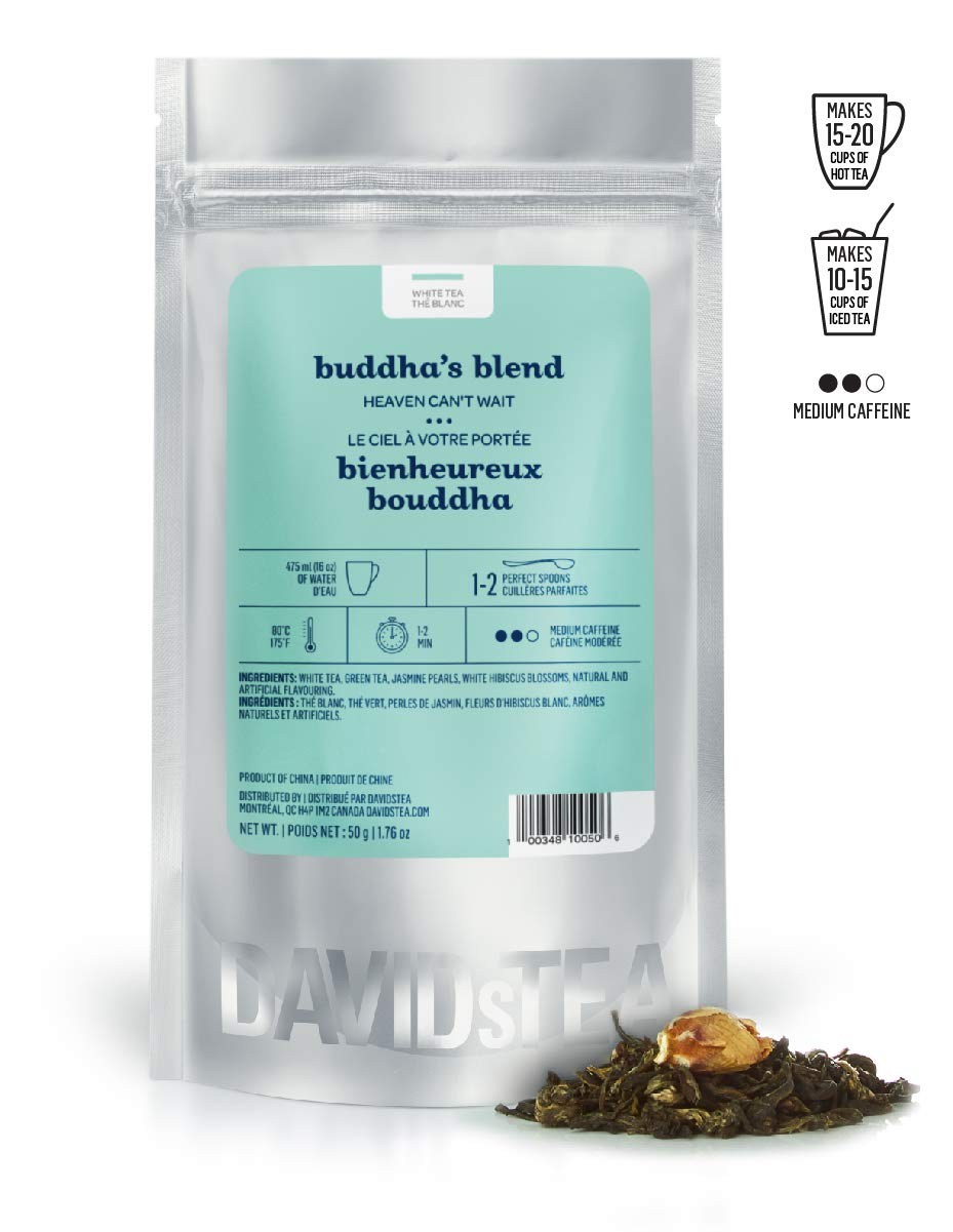 DAVIDsTEA Buddha's Blend Loose Leaf Tea, Premium Relaxing White and Green Tea Scented with Jasmine, 2 oz by DAVIDsTEA