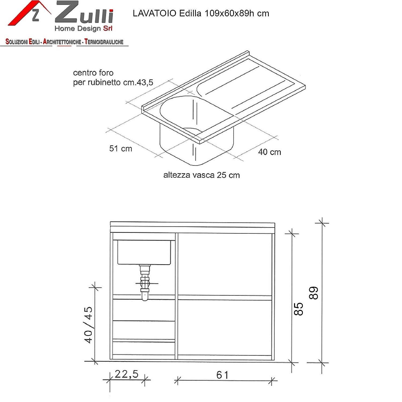 Lavatoio Montegrappa edilla 109 x 60 Ins. Lavadora DX con cesta ...