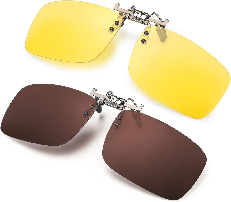 ELIVWR 2 Pares Gafa de Sol Polarizada con Clip de - Gafas Nocturnas Conducción/Golf/y Mucho Más Deportes Exteriores, 100% de Protección Contra Los Rayos UVA/UVB Dañi