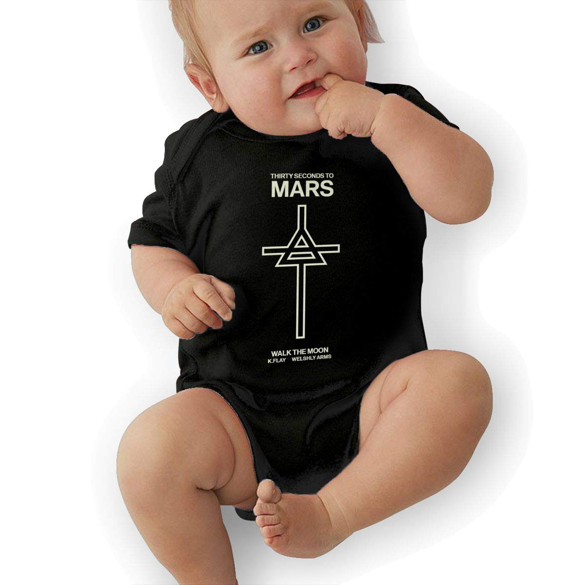 LuckyTagy Thirty Seconds to Mars Logo Unisex Vintage Toddler Romper Baby GirlPlaysuit Black
