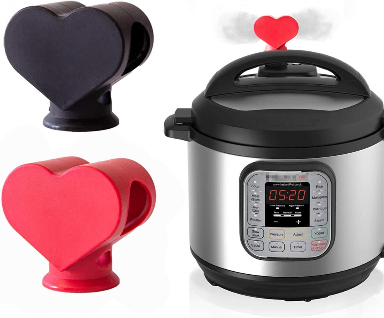 Renue - Heart Shaped Silicone Steam Release Diverter Accessory - Compatible With Instant Pot Duo/Duo Plus/and Other Models | Divert Moisture Away from Cabinets and Walls (Red)