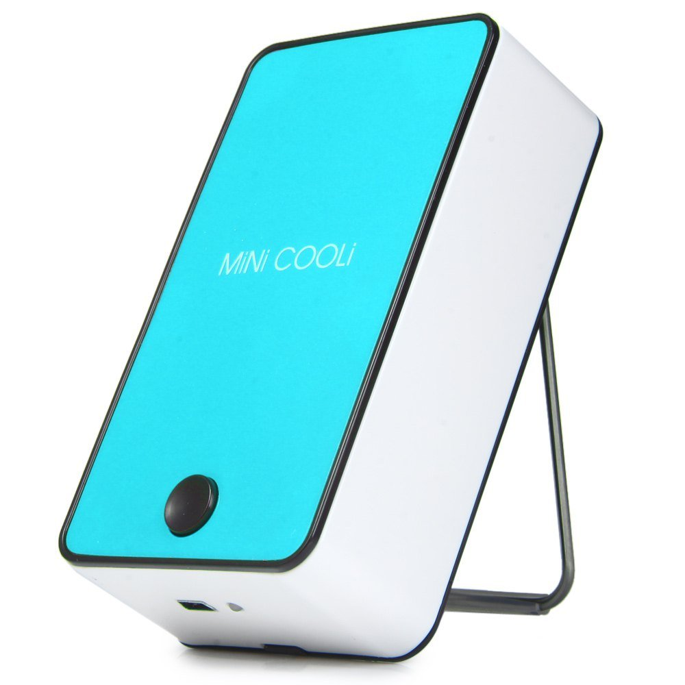 Wooboo Mini Cooli Portable USB Rechargeable HandHeld Air Conditioner Summer Cooler Fan,Batteries Powered No Leaf Fan for Kids (Blue)
