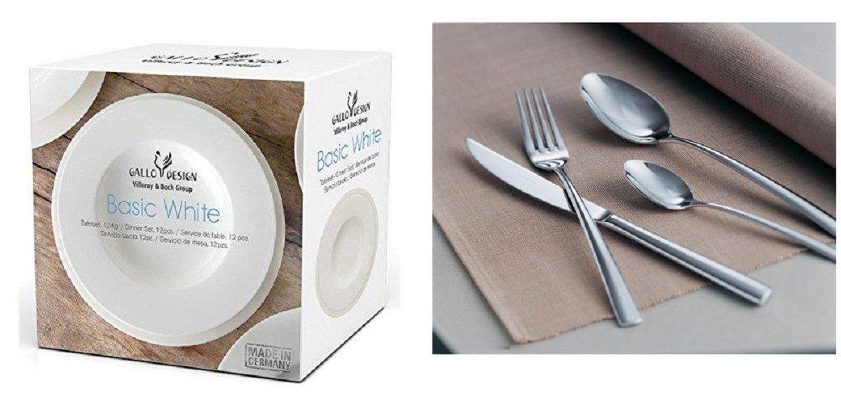 Villeroy & Boch Servicio Platos blanco 12 piezas + Cubiertos Piemont 16 unidades (X 4 personas): Amazon.es: Hogar