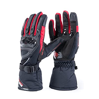 Motorcycle Gloves Winter Warm Touch Screen Waterproof Windproof Protective clothing (RED, M): Automotive