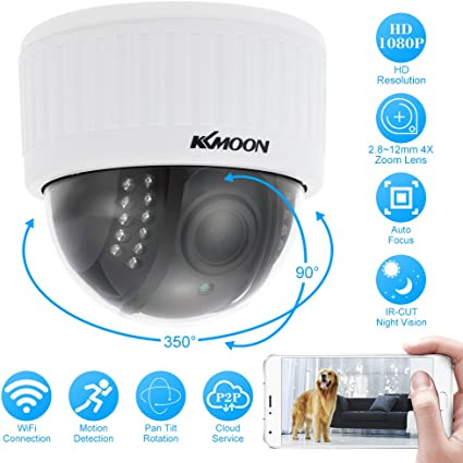 Kkmoon 1080p Wireless Wifi Ptz Hd Ip Kamera Dome 2 8 12 Mm Fraunhofer Manuell Vario Objektiv Zoom 1 0 Mp 1 3 Zoll Cmos 22pz Ir Lampen Nachtsicht Handy Kontrolle Für Sicherheit Zuhause Baumarkt