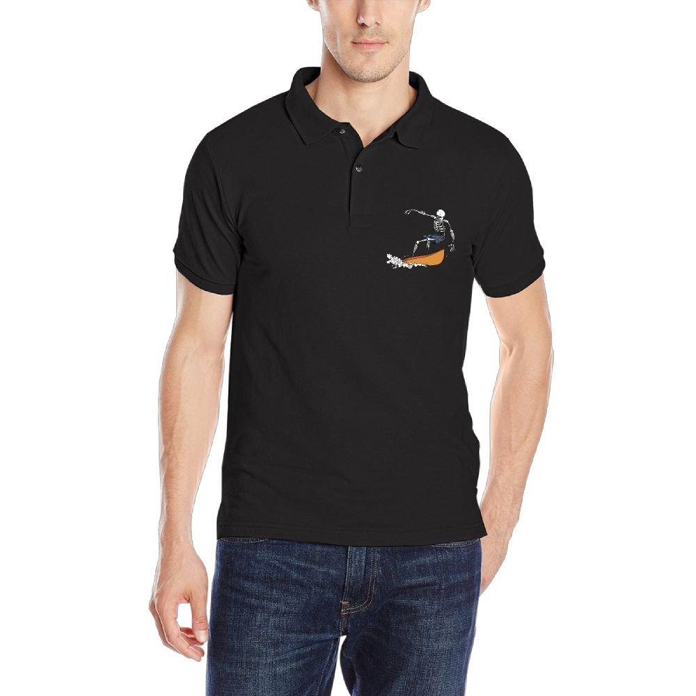 Skeleton Surfing Mens Short Sleeve Polo Shirt Classic-Fit Blouse Sport Tee