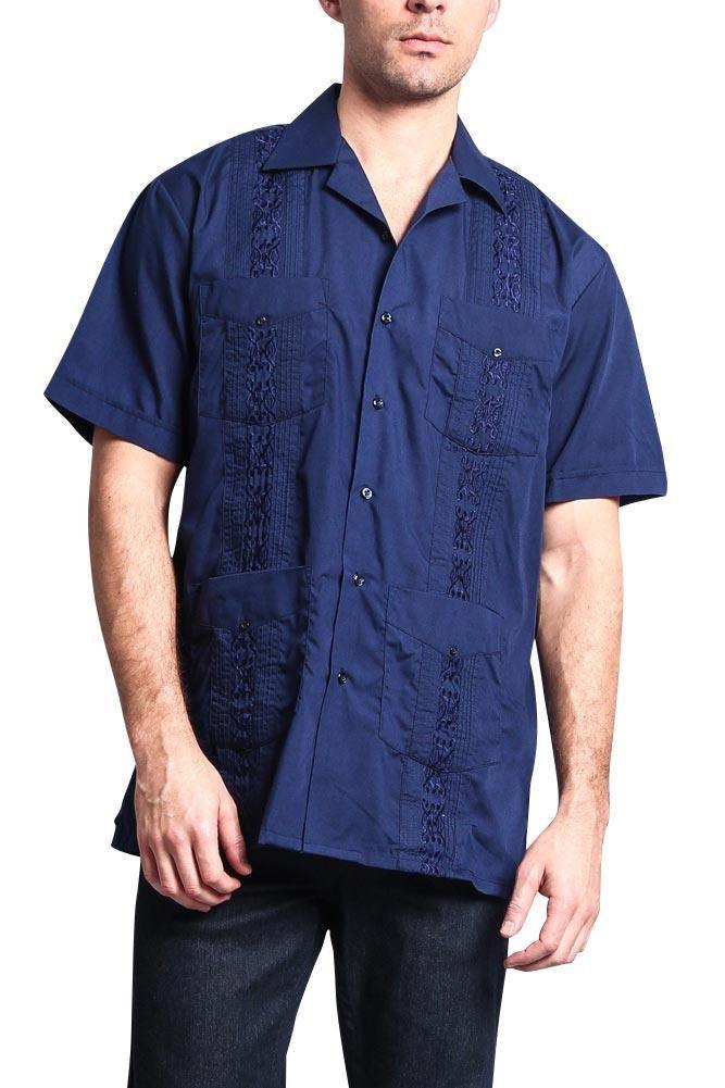 Men's Guayabera Premium Lightweight Embroidered Pleated Cuban Shirt - Omega - Navy - 2X-Large