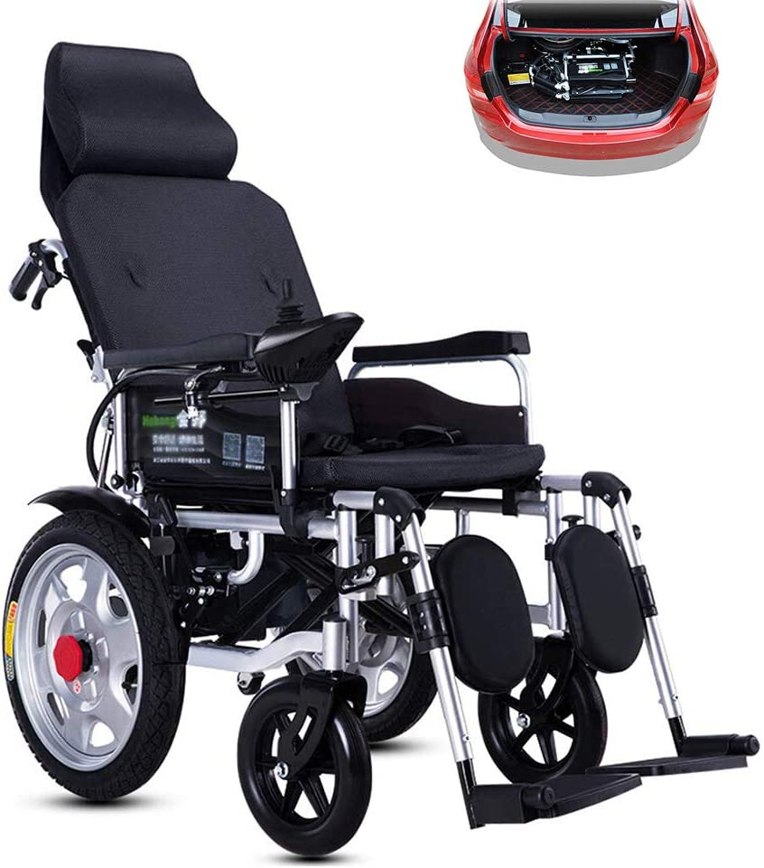 HIMAmonkey Silla de Ruedas eléctrica Plegable - Discapacitados Carro Plegable Antiguo Deshabilitado Scooter Capacidad de acción compensatoria
