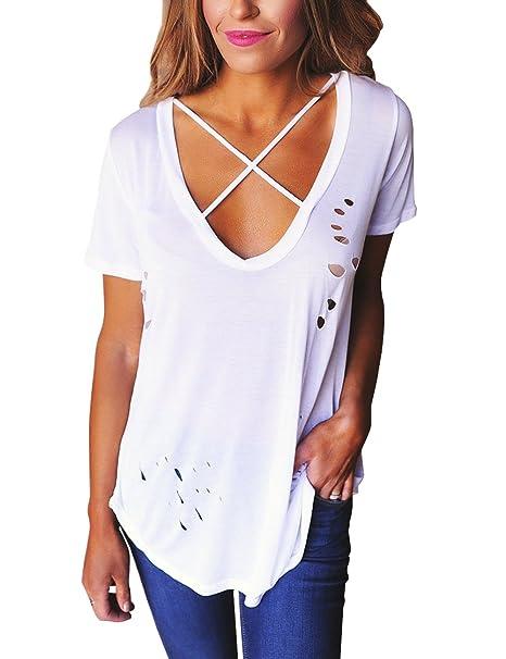 Blusa de manga corta y holgada para mujer, con cuello de pico, de estilo