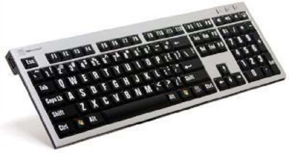 LogicKeyboard Large Print Computer USB Wired Keyboard Slim for Visually Impaired - White Letters on Black Keys For PC-LKBU-LPRNTWB-AJPU-US