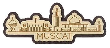 Printtoo Home Decor Muscat Oman Monuments Engraved Wooden Fridge
