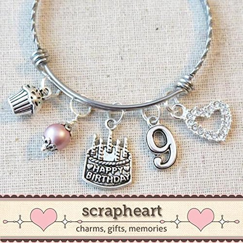 9th BIRTHDAY GIRL, 9th Birthday Charm Bracelet, 9 Year Old Daughter Birthday Gift Idea, Girls Ninth Birthday Gift, 9 Year Old Girl Birthday