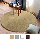 MAYSHINE Round39 inch Beige Non-slip Soft Microfber Mat Luxurious Area Rug Machine-washable for Living Room Bedroom Kitchen