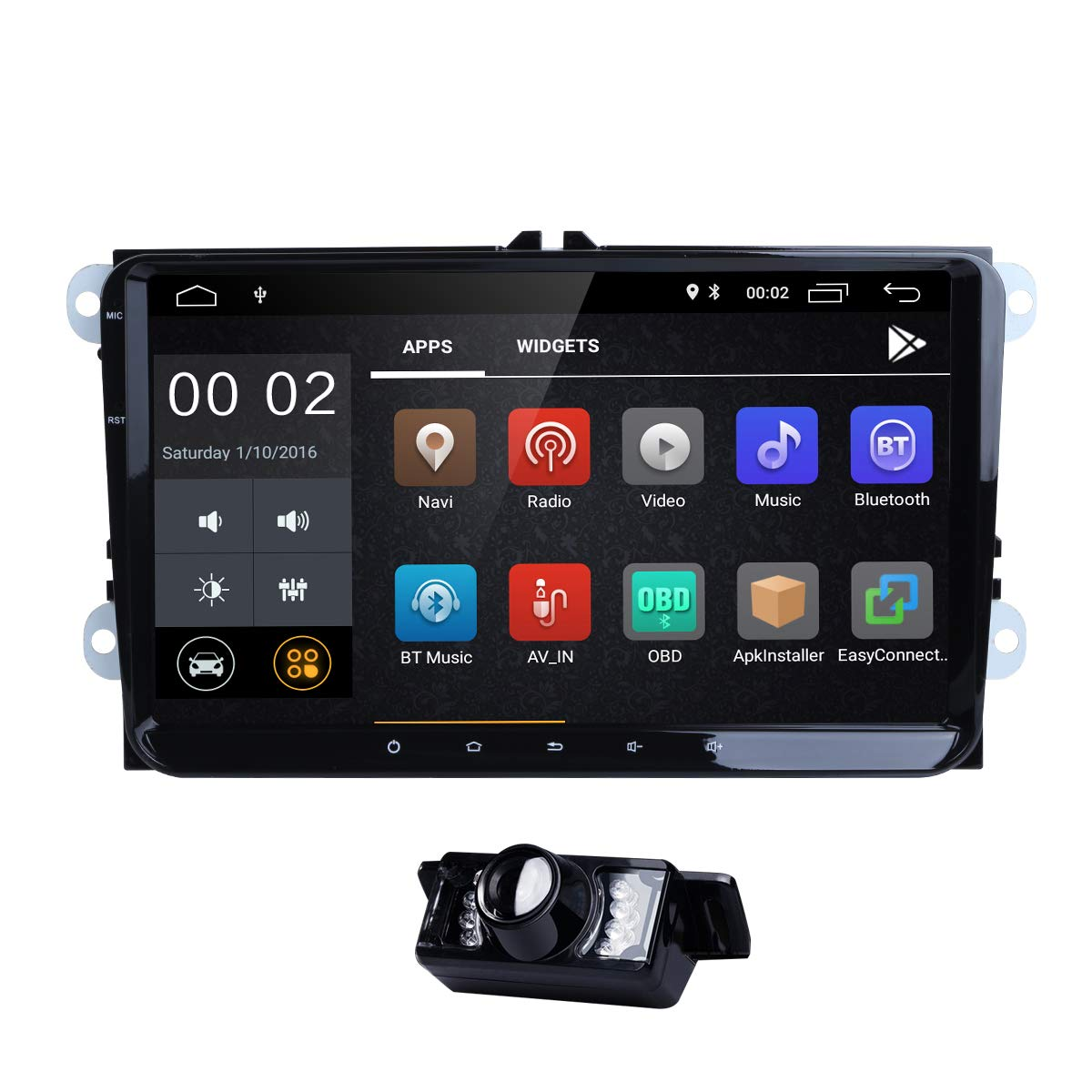 WiFi 9 Inch Android 8.1 Double 2 Din Car Stereo Video Receiver Radio GPS Navi for VW Golf Polo Passat Tiguan Jetta EOS+North America Map+Camera Capacitive Screen
