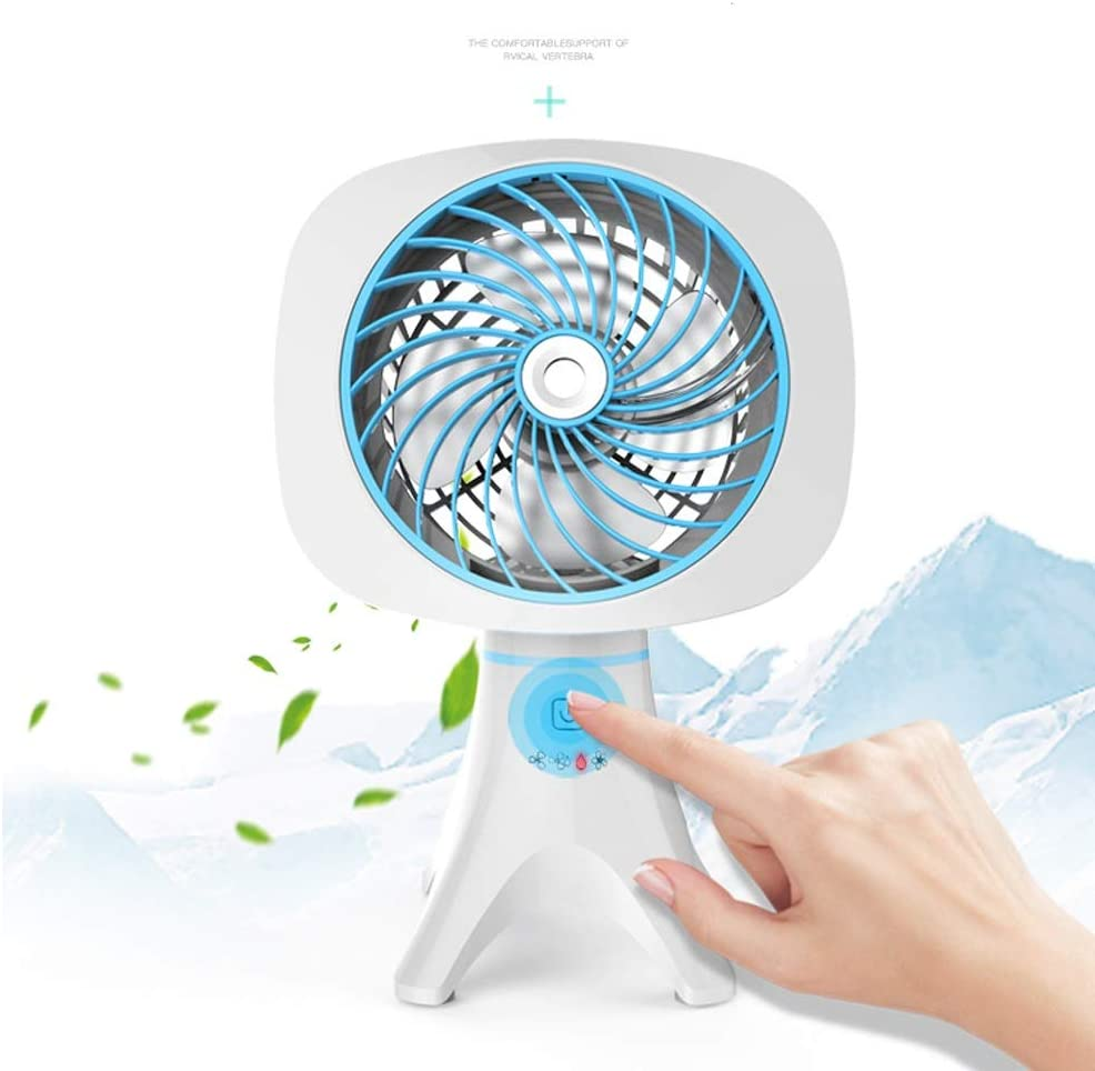 Color : Blue, Design : USB USB Table Desk Personal Fan Humidifying Fan USB Spray Mini Mute Lithium Battery Rechargeable Touch Screen Desktop Handheld Small Fan for Home Office Table