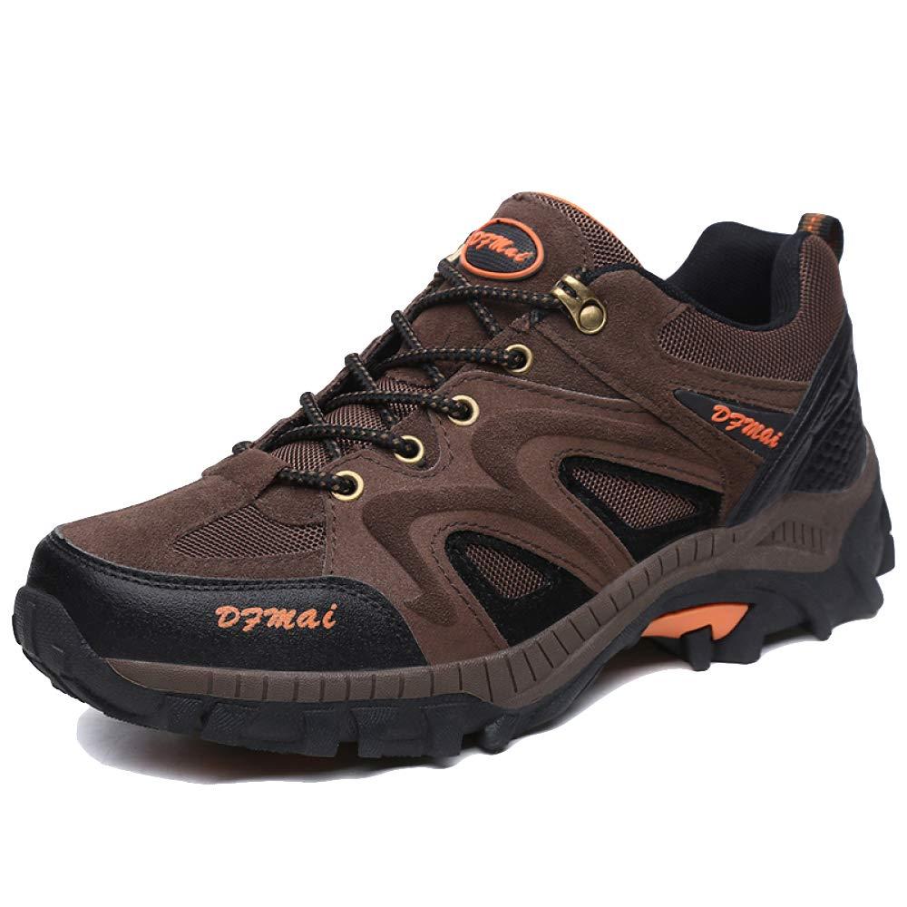 Hombres Adultos Excursionismo Zapatos Cuero Al Aire Libre Trekking De Poca Altura Profesional Antideslizante Respirable Sneaker Para Caminar Con Cordones Zapatos Verde Negro Marrón,A-EU43=UK9=Labelsize44 EU43=UK9=Labelsize44|A